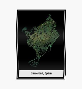 Barcelona, Spain Colored Street Network Map Graphic