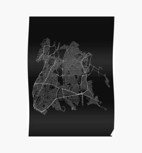Bronx, New York, USA Street Network Map Graphic