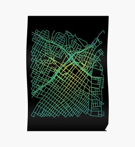 Bunker Hill, LA, USA Colored Street Network Map Graphic