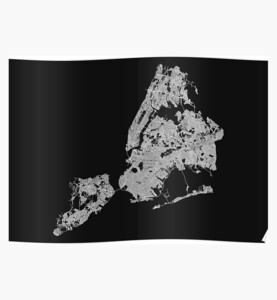 New York City, USA Street Network Map Graphic