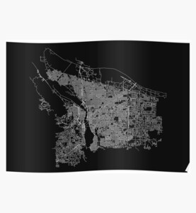 Portland, Oregon, USA Street Network Map Graphic