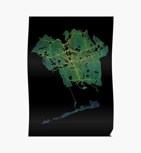 Queens, New York, USA Colored Street Network Map Graphic
