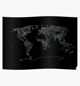 World Map of Large Rivers, Lakes and Coast Lines - Dark Background